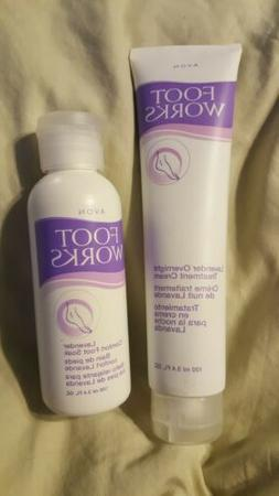 2 PC- AVON FOOTWORKS LAVENDER OVERNIGHT TREATMENT CREAM & CO