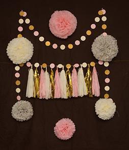 20pcs Pompoms+Tassels+Dot garlands, Birthday/Baby shower/Bri