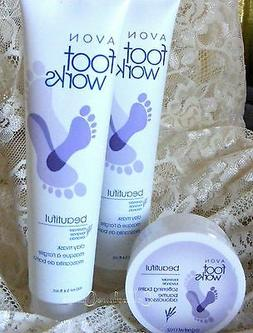 3 Pc Set Avon Foot Works Beautiful Lavender Mask Cream Balm