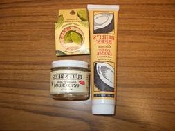 3 Piece Kit Burt's Bees Foot Creme , Hand Cream & Cuticle Cr