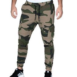 AIEason Pants Men Tight Beam Foot Drawstring Sports Slacks C
