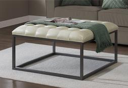 Best Home Healy Cream Leather Tufted Ottoman Coffee Table