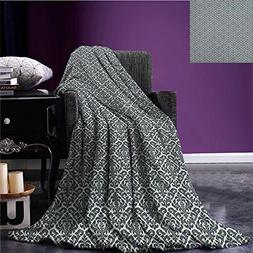 damask cool blanket monochrome revival