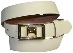 FRONHOFER Women's genuine leather belt, golden buckle, real