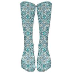 Floral In Teal Cream And Blue Youth Soccer Socks Boys Girls
