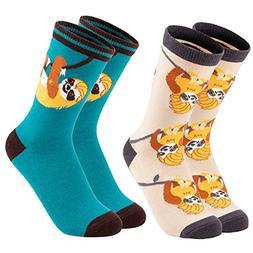 Girl's Novelty Socks - 2-Pair Novelty Crew Socks with Cute A