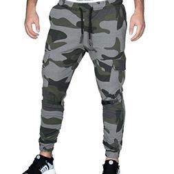 IEason-pants Men Tight Beam Foot Drawstring Sports Slacks Ca