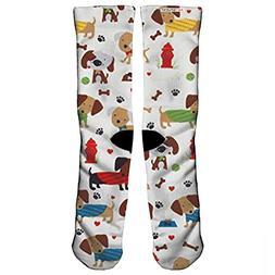 Knit Cream Rover Dog Park Cream Fabric Compression Socks, Co