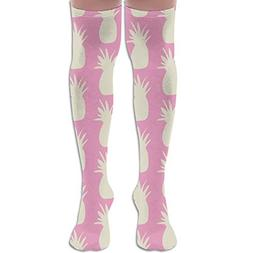 LOIOI67 Pineapples Cream On Pink Youth Soccer Socks Teens Kn