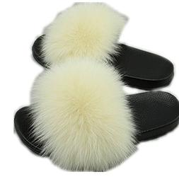 MH Bailment Women Real Fox Fur Feather Leather Open Toe Sing