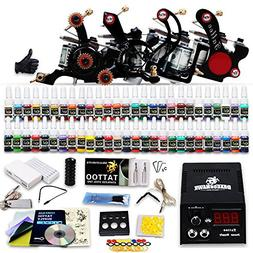 Professional Complete Tattoo Kit 4 Top Machine Gun 54 Color