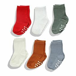 Silky Toes Non-Skid Infant Socks Multi Colored Baby Boy Girl