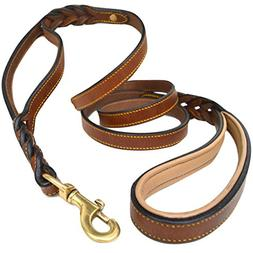 Soft Touch Collars, 6 Foot Braided Leather Dog Leash with Tr