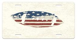 Sports License Plate by Ambesonne, Grunge American Flag Them
