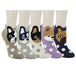 Zmart 5 Pack Women Funny Novelty Polka Dots Dog Cotton Low C