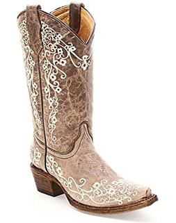 New Corral Girl's A2773 Western Boot Brown/Beige Embroidery