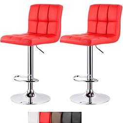 WOLTU ABSX1001red-c Set of 2 Bar Stool Swivel Red Bonded Lea