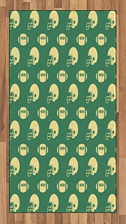 Ambesonne American Football Area Rug, Retro Style Pattern wi