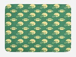 Ambesonne American Football Bath Mat, Retro Style Pattern wi