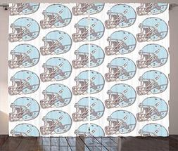 Ambesonne American Football Curtains, Sketchy Style Safety P