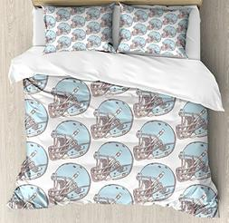 Ambesonne American Football Duvet Cover Set Queen Size, Sket