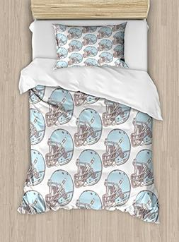 Ambesonne American Football Duvet Cover Set Twin Size, Sketc