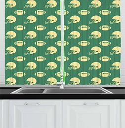 Ambesonne American Football Kitchen Curtains, Retro Style Pa