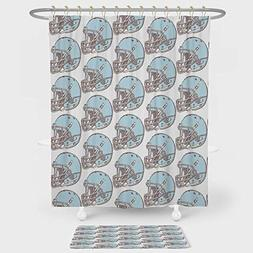 iPrint American Football Shower Curtain And Floor Mat Combin