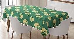 Ambesonne American Football Tablecloth, Retro Style Pattern