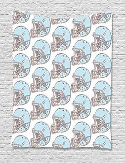 Ambesonne American Football Tapestry, Sketchy Style Safety P