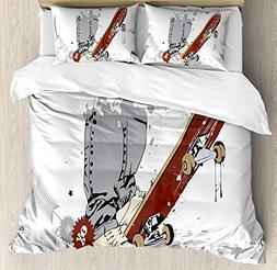 Teen Room Decor Bedding Sets, Skateboard with Boy Feet in Sn