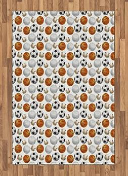 Ambesonne Sports Area Rug, Football and Volleyball Pattern C