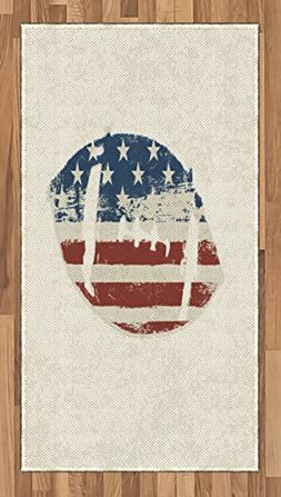 Ambesonne Sports Area Rug, Grunge American Flag Themed Stitc