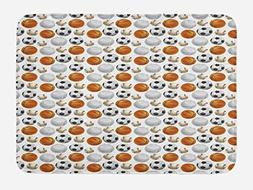 Ambesonne Sports Bath Mat, Football and Volleyball Pattern C