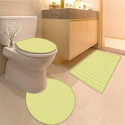 MikiDa Bathroom Household Rug Retro Stripes with Polka Dot