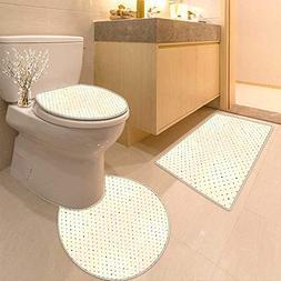 Printsonne Bathroom Household Rug Retro Nostalgic Polka Dots
