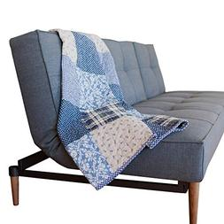 SLPR Blue Symphony Cotton Real Patchwork Quilted Throw  | Ho