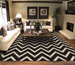 Large Chevron Pattern Rugs For Living Room Black Cream 8x11