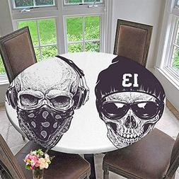 PINAFORE HOME Circular Table Cover Two dotwork Skulls with S