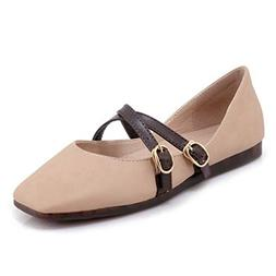 GIY Women's Classic Pointy Toe Flats Buckle Ankle Strap Casu