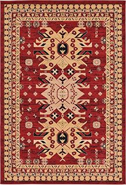 Classic Traditional Geometric Persian Design Area rugs Red 6