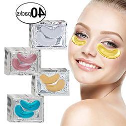 VAGA 40 Pairs Collagen Gel Crystal 24K Gold, Milk White, Blu