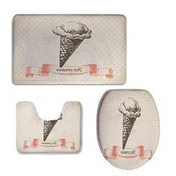 3 Piece Large Contour Mat Set,Ice Cream Decor,Nostalgic Grun