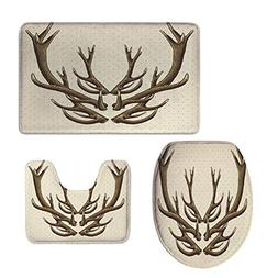 3 Piece Large Contour Mat Set,Antler Decor,Hipster Vintage C