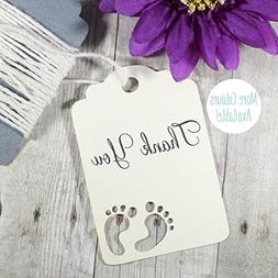 Cream Baby Shower Thank You Tags with Feet