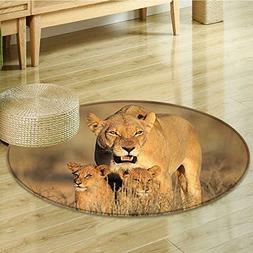 Dining Room Home Bedroom Carpet Floor Mat Safari Mom Lioness