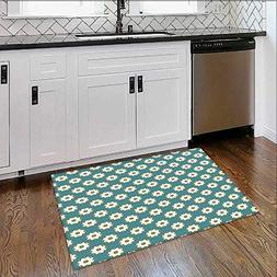 Durable Rug Petals Pattern in Vibrant Tones Embellished Bloo