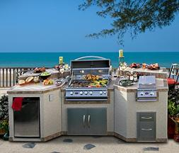 Cal Flame e3100 3 Piece Outdoor Kitchen Island with 4-Burner