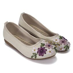 DODOING Embroidered Chinese Style Flats Ballet Embroidery Cr