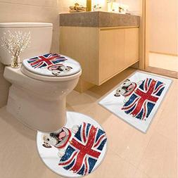 Anhuthree English Bulldog Bath mat and Toilet mat Set Happy